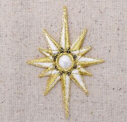 Celestial Star 2 1 2quot; Gold White Iron on Applique Embroidered Patch $5.00
