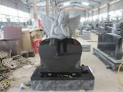 Cemetery usage absolute black granite angel monument with single heart