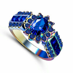 Size 6 Oval Cut Mystic Blue Sapphire Engagement Ring Rainbow Rhodium Plated Gift