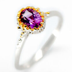 Special Price! Natural Amethyst 7x5 mm 925 Sterling Silver Ring  RVS28
