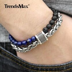 14mm Two Layers Mens Bracelet Blue Lava Lapis Lazuli Beaded Stainless Steel Link