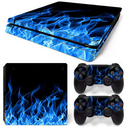 PS4 Slim Skin Console & 2 Controllers Blue Flame Decal Vinyl Wrap