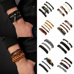 Punk Rock Multilayer Leather Bracelet Men Women Wristband Bangle Jewelry Set NEW
