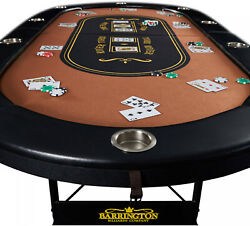 10-Player Felt Top Poker Table Folding Portable Party Casino Game Texas Hold Em $241.02