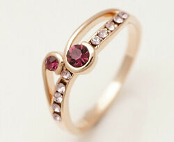 18K Yellow Gold Plated Amethyst Sapphire Rings For Women Jewelry Gifts Size7.5