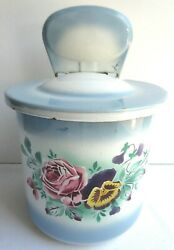 French salt box Art Deco enamelled sheet signed JAPY: Pansies and roses.