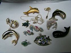 Fish dolphin whale pins necklace earrings pendants Lot
