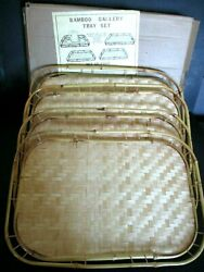 4 Vintage Bamboo Woven Rattan Wicker Tiki Serving Trays NEW in BOX