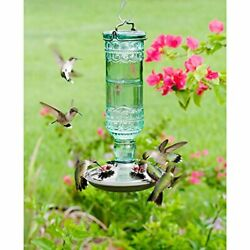 Perky-Pet 8108-2 Green Antique Bottle 10-Ounce Glass Hummingbird Feeder