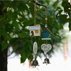Wood House Pattern Wind Chime Bell Home Yard Garden Hanging Door Decoration CO