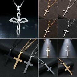 Stainless Steel Cross Pendant Link Chain Men Metal Necklace Father's Day Jewelry