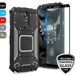 For LG Stylo 5 Plus 5x 5v Metal Plate Magnetic Support Phone CaseTempered Glass $11.95