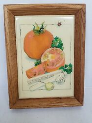 Tomato Wall Art Wooden Frame Ladybug Garlic Press Parsley