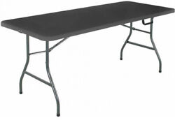 6 Ft Folding Table Centerfold Portable Outdoor Picnic Indoor Plastic Party Black $58.10