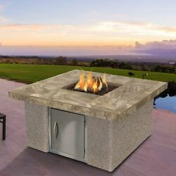 Cal Flame Stucco and Tile Dining Steel Propane Fire pit