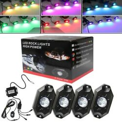 4X RGB LED Rock Light Bluetooth APP Multi Color Flash for Offroad ATV offroad