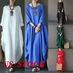Women Cotton Linen Maxi Dress Long Sleeve Pocket Boho Kaftan Tunic Plus Size US