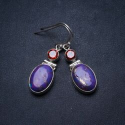 Copper Turquoise and Garnet 925 Sterling Silver Earrings 1.5