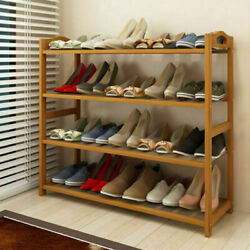 4Tier Natural  Bamboo Shoe Rack Shelf Storage Wooden Shoes Holders Organizers US