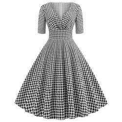 Women Houndstooth Swing 1950s Retro Housewife Vintage Rockabilly Party Dress