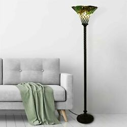 Tiffany Style Floor Lamp Leaf Stained Shade Glass Metal Base Elegant Home Decor $117.99