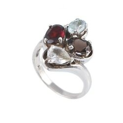 Natural Garnet Aquamarine and White Topaz studded 925 sterling silver ring