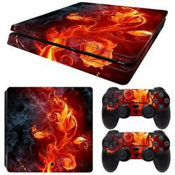 PS4 Slim Skin Console & 2 Controllers Floral Flame Decal Vinyl Wrap