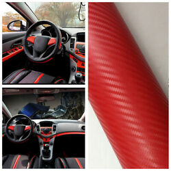 Car Accessories Interior Panel Red Styling Carbon Fiber Vinyl Wrap Stickers 3D