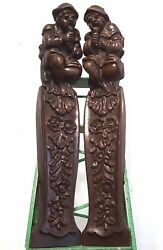 PAIR GOTHIC FIGURE CORBELS BRACKETS Antique french hand carved wood post pillar