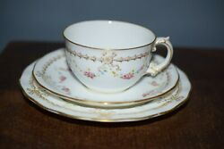 A FINE ANTIQUE ROYAL CROWN DERBY TRIO PATTERN NO. 4578 FOR MORTLOCK'S OXFORD ST