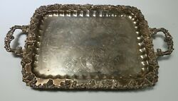 Birmingham BSC Silverplate Footed Butler Tray Ornate Grapes 27