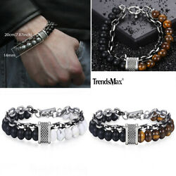 14mm Mens Women Beaded Bracelet Stone Stainless Steel Link Chain Jewelry 8910