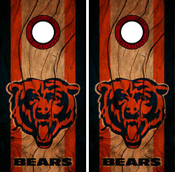 Chicago Bears Cornhole Wrap NFL Decal Wood Vinyl Gameboard Skin Set YD334