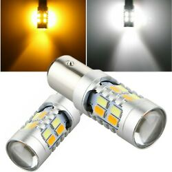 2x 1157 Dual Color 5730-SMD LED Turn Signal Amber & White Switchback Light Bulbs $9.49