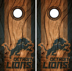Detroit Lions Cornhole Wrap NFL Decal Wood Vinyl Gameboard Skin Set YD329