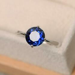 Sterling Silver Natural Certified 5 Ct Blue Sapphire Antique Gift Ring For Her