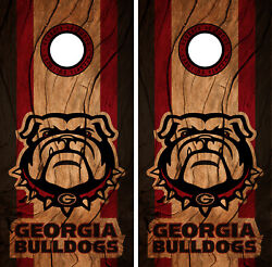 Georgia Bulldogs Cornhole Wrap NCAAF Decal Wood Vinyl Gameboard Skin Set YD31