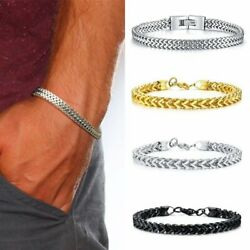 Silver Men's Stainless Steel Keel Chain Link Bracelet Wristband Bangle Jewelry