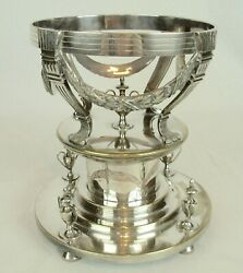 Antique Vintage Silver Plate Serving Stand or Crystal Ball Orb Display Stand