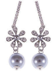 NEW Crystal Elements Grey Faux Pearl Accented Holiday Flower Drop Earrings