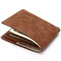 Men#x27;s Soft Leather Bifold Credit ID Card Holder Slim Thin Wallet Brown $7.99