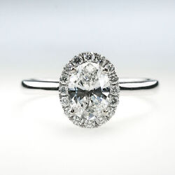14K White Gold 1.00ct GIA Certified SI1E Oval Diamond Halo Engagement Ring