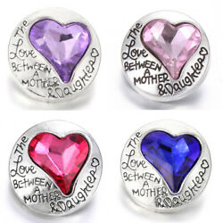 5X Love Heart Crystal Chunk Charm Snap Button Fit 18mm Drill Noosa Jewelry
