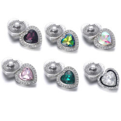 5pcs Heart Love Crystal Chunk Charm Snap Button Fit 18mm Drill Noosa Jewelry