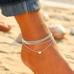 2PCSSet Ankle Bracelet Silver Multi Layer Womens Anklet Adjustable Chain Beach