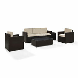 Palm Harbor 5-Piece Outdoor Wicker Sofa Conversation Set With Sand Cushions -...