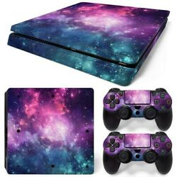 PS4 Slim Console & 2 Controllers Galaxy Space Vinyl Skin Wrap Decal