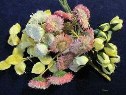 Vtg Millinery Flower Collection Yellow Rosebuds Pink Ecru 1