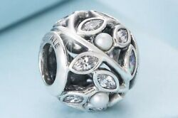 Authentic Pandora Silver ALE Luminous Leaves White Pearl Clear Charm 791754 #ax