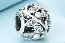 Authentic Pandora Silver Charm  Luminous Leaves White Pearl Clear 791754  #bt